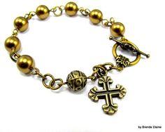 Anglican Prayer Bead Bracelet  with Swarovski by byBrendaElaine