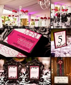 hot pink and black wedding decor - Photo by Gray Photography
