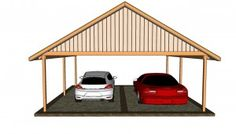 Step by step woodworking project about carport plans free. If you want to protect your car from bad weather, choose proper carport building plans for your needs. Building A Carport, Diy Carport, 2 Car Carport, Carport Plans, Double Carport, Wood Shed Plans, Diy Garage, Garage Plans, Pergola Plans