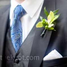 Pretty bout w blue tie - green cymbidium orchids.  Like the colors, maybe not the paisley.