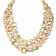 Long CHANEL  Necklace with Pearls, Rhinestones and Rings