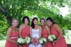 """Every bridesmaid in a different style dress (same fabric and color) gives a unified look with every girl feeling comfortable and """"herself"""".  Landi wedding, photo by Rita Ann Maloney."""