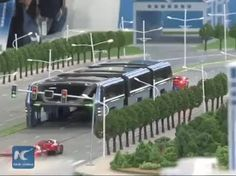 China futuristic bus, designed to avoid traffic.