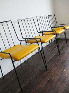Steel and Leather dining chairs - circa 1960's  I was born in the wrong era