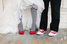 striped tights! ahhh! i've NEVER seen a bride wear tights! love it!