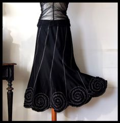 Skirt with rosettes in black taffeta boho skirt party by couvert