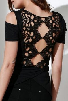 Stylish Scoop Neck Short Sleeve Solid Color Cut Out Black Lace Splicing T-Shirt For Women#Sexy #Black_Lace #CutOut #Summer #Top #Fashion