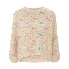 Multi Bobble Jumper by Nobody's Child (680 EGP) ❤ liked on Polyvore featuring tops, sweaters, jumpers sweaters, relaxed fit tops, pink sweater, pink top and pastel sweaters