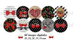 Digital Collage Sheet 1 inch Bottle Cap Charms cherry Images  Instant Download (2.50 EUR) by Allegradigital