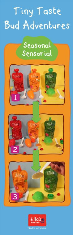 Spring has almost sprung and with it, so many yummy fruits and veggies! Help your little one learn to differentiate the tastes of the season!  Step 1: Gather a strawberry, a spoonful of the apple + strawberry one, a broccoli, a spoonful of pears + peas + broccoli, and a carrot with a spoonful of apple carrots + parsnips Step 2: Line up each fruit and veggie next to their corresponding spoonful Step 3: Have your little one touch and feel the fruit/veggie then eat the spoonful