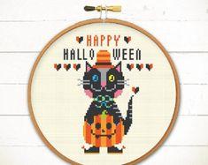 Halloween cross stitch pattern Happy Pumpkin by redbeardesign