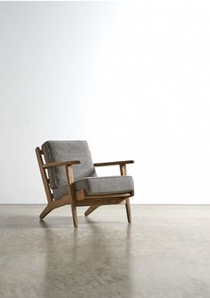 The KARLA armchair - in Stonewashed Grey. Our take on an iconic mid-century shape, the Karla is our most popular armchair. We use driftwood effect oak and stonewashed upholstery. Home Furniture, Furniture Design, Antique Furniture, Furniture Ideas, Stylish Chairs, Living Spaces, Living Room, Mid Century Furniture, Chair Design