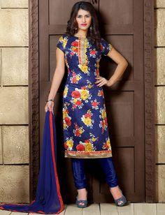 Blue Bhagalpuri Silk Floral Printed Unstitched Salwar Suit