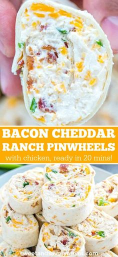 Cheddar Ranch Pinwheels Bacon Cheddar Ranch Pinwheels are the ultimate party appetizers that you can put together in less than 20 minutes.Bacon Cheddar Ranch Pinwheels are the ultimate party appetizers that you can put together in less than 20 minutes. Pinwheel Recipes, Tortilla Pinwheel Appetizers, Tortilla Pinwheels, Bacon Appetizers, Appetizer Dips, Bacon Meals, Sandwich Appetizers, Breakfast Appetizers, Recipes