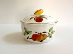 Royal Worcester Evesham Butter Tub with Lid, Made in England, Fruit Motif & Gold Trim by GentlyKept on Etsy