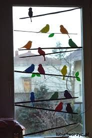 The decoration, which can be seen in the pictures, shows a flock of birds sitting - New Deko Sites Decoration Creche, Class Decoration, School Decorations, Spring Decorations, Diy For Kids, Crafts For Kids, Bird Template, Manualidades Halloween, Bird Silhouette
