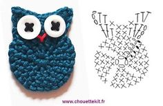 Petite Chouette - free French crochet Owl applique pattern with chart by Chouette KitCrochet Owl chart by Chouette Kit. Owls were big when I was in High School.Crochet Owl - Chart- seriously need to learn how to read those charts for both knitting an Crochet Diy, Crochet Birds, Crochet Amigurumi, Crochet Motifs, Crochet Diagram, Crochet Chart, Love Crochet, Crochet Animals, Crochet Flowers