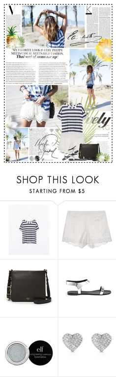 """p i n e a p p l e ♥ p a r a d i s e"" by pandacubcake ❤ liked on Polyvore featuring Zara, Blugirl, FOSSIL, Giuseppe Zanotti, Michael Kors, GetTheLook, Summer, stripes, lace and BloggerStyle"