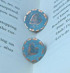 Handmade Copper Etched Heart Ear studs with verdigris blue patina - My Cherry Pie
