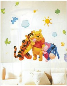 A lovely 'Winnie the Pooh and Family' decal, to bring in color and happiness in your child's room!    Get this easy-to-apply sticker in various size variants, along with other attractive discounts, only on http://www.gloob.in/pooh-1.html