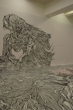 Using only a black marker Japanese artist Yosuke Goda creates large-scale room drawings and murals. Yosuke's drawings give the viewer a unique 360 degree visual experience.