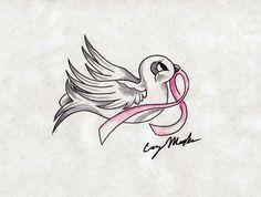 Breast Cancer Dove Tattoo Design by NarcissusTattoos.deviantart.com