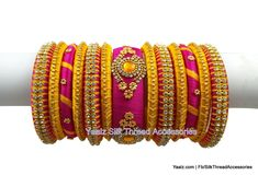silk thread jewelry Bangle Earring Jumka-Yaalz Partywear Bangles Set In Rani Pink & Mango Yellow Colors-YAALZ Silk Thread Bangles Design, Silk Thread Necklace, Silk Bangles, Bridal Bangles, Thread Jewellery, Diy Jewellery, Bangles Making, Jewelry Making, Bangle Set