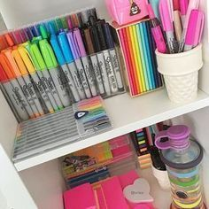 123 easy and cheap diy home office organization ideas -page 13 > Homemytri. School Supplies Organization, Cute School Supplies, Home Office Organization, Office Supplies, Organization Ideas, Stationary Organization, College School Supplies, Art Supplies, Organizing