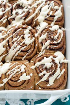 Gingerbread Cinnamon Rolls with Cinnamon Cream Cheese Frosting #recipe #brunch