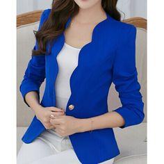 Wholesale Simple Design V-Neck Long Sleeve Solid Color Blazer For Women Only $10.79 Drop Shipping | TrendsGal.com