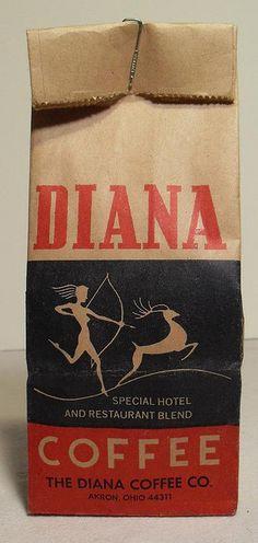 DIANA COFFEE Bag Vintage 1940s, Type, deer, Hunter, bow and arrow, kraft paper, brown bag