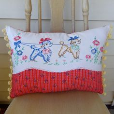 Mr. and Mrs. Poodle vintage fabric pillow by flapperfly on Etsy