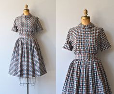 Rhyl Plaid dress cotton 1950s day dress vintage by DearGolden Vintage 1950s gray and brown plaid dress set - peter pan collar blouse with short cuffed sleeves, full skirt with belt loops and metal zipper and wide matching belt.