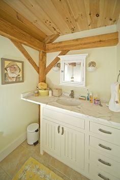 Rustic white/woodsy bathroom.