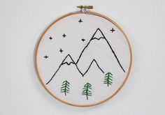 Forest & Mountain Scene Embroidery Hoop (Home Decor Piece)  ♥ DETAILS: This piece is created on a 7 inch circular wooden hoop.  The background is