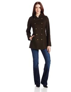 Tommy Hilfiger Women's Double Breasted Warm Wool Coat with Stand Collar, Loden, 4 Double breasted. Military. Military brass buttons. Stand collar. Slimming back belt detail.