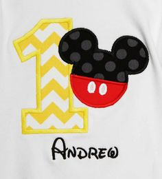 Boy's Mickey Mouse Birthday Shirt or Onesie, Custom, Any Age