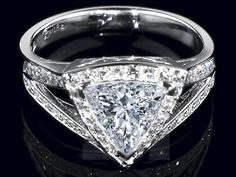 Engagement Ring -Trillion Diamond Halo Engagement Ring Pave Split Band-ES1125