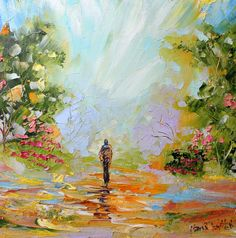 Original oil painting #Peaceful Stroll palette by Karensfineart
