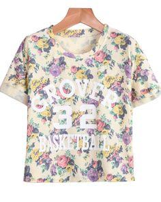 Purple Short Sleeve Floral 33 Print T-Shirt - Sheinside.com