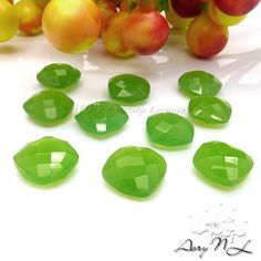 1pcs 10x10mm Natural Double Checkerboard Cut Jade Bright by AoryNL