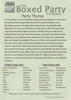 Ideas for a kids party theme