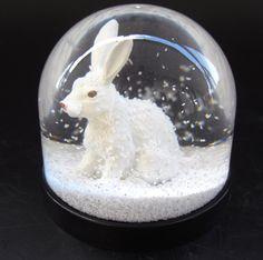 Image result for white snow rabbit snow globe