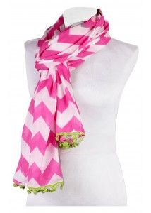 This organic-cotton scarf comes in a graphic print and features a playful pom-pom finish. Light weight scarf. Perfect for any season or any outfit! www.thepreppypair.com #chevron