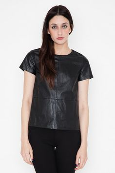 Funktional - Atomic Leather Panel Top | Black leather turns tee-and-jeans dressing into a serious statement.
