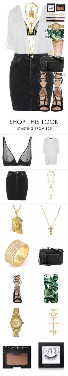 """""""There's a world of difference between truth and facts. Facts can obscure truth."""" by quiche ❤ liked on Polyvore featuring Topshop, Elizabeth Cole, BillyTheTree, King Ice, Marc Jacobs, Gianvito Rossi, Milly, Margarita, Rolex and Luv Aj"""