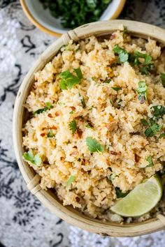 "Asian Cauliflower ""Rice"" // This is a great sub for rice if you are on a low-carb diet! Pair with curry, stir fry, pork, beef, chicken, etc."