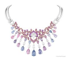 """Van Cleef & Arpels; is delighted to unveil today the Enchanteur necklace, a tribute to the magic and Charm of the Orient, inspired by the famous tales of """"Thousand and One Nights"""".    Enchanteur necklace, white gold, round and pear-shaped diamonds, colored spinels, pink gold, baguettes-cut pink sapphires."""
