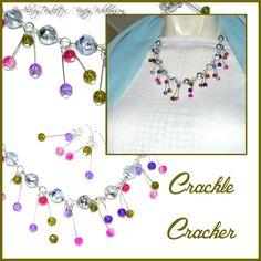 Crackle Glass Cracker necklace and earrings set.  This necklace and earrings set really is a bit of a cracker.  Made with crackle glass beads in bright happy colours on an 18 inch silver chain that fastens with a lobster clasp and the earrings are on sterling silver hooks.
