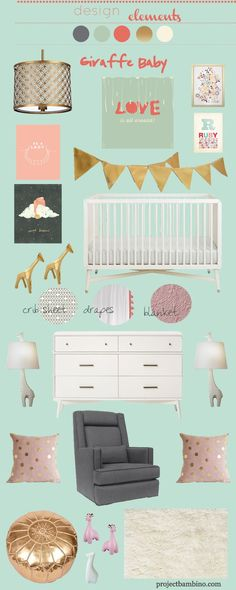 Giraffe Nursery Inspiration Board. I like the colors, not doing all the giraffes...
